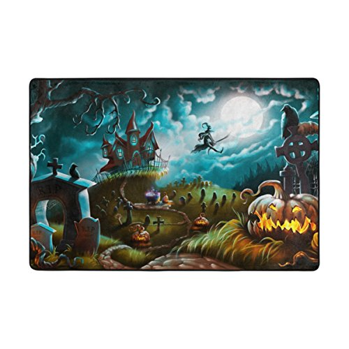 My Little Nest Halloween Night Mystery Cemetery Witch Area Rug For Bedroom Dining Living Room Entry Way 4' x 6'