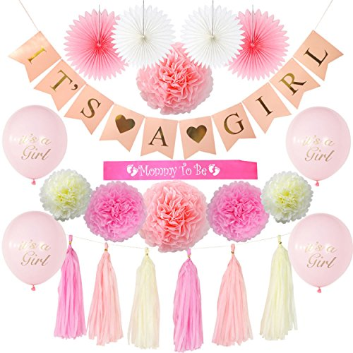 Haute Decor (Baby Shower Decorations for Girl by Haute Baby 22 Pieces- Its a Girl Party Banner Decor   Pre Strung Mommy to be Sash   Balloons   Pom Pom   Pink/Pastel Pink/Cream   Paper Fans   Nursery Office Decor)