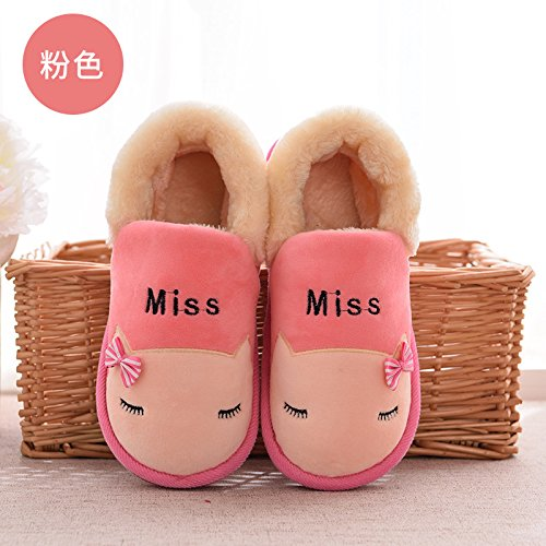 Habuji Cartoon carino il cotone pantofole ladies caldo inverno shoes home scarpe di cotone, 36, rosa
