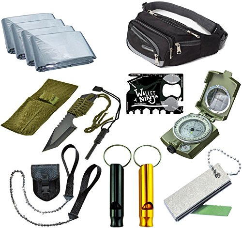 Outdoor Emergency Survival Camping Kit, Includes Tanto Knife, Magnesium fire starter, Mylar Blankets, Military Compass, Pocket Chain Saw, Aluminum Whistle, Multi purpose Pocket Tool all in A Waist Bag