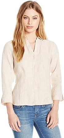 Foxcroft Womens Petite Size 3//4 Sleeve Taylor Chambray Linen Shirt