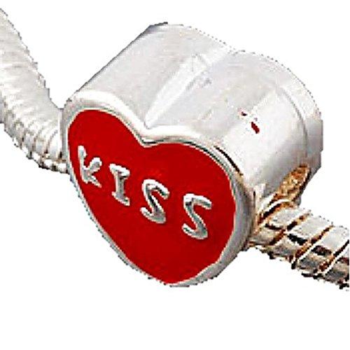 Charm Buddy Red Kiss Heart Charms Bead Fits Silver Pandora Style Bracelets - Heart Kiss Italian Charm