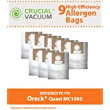 9 Allergen Filtration Vacuum Bags for Oreck Quest MC1000 Canister Vacuums; Compare to Oreck Part No. PK12MC1000; Designed & Engineered by Think Crucial