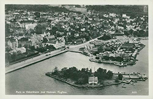 Vintage photo of Lot of Oskarshamn with the harbor. Aerial view - postcard