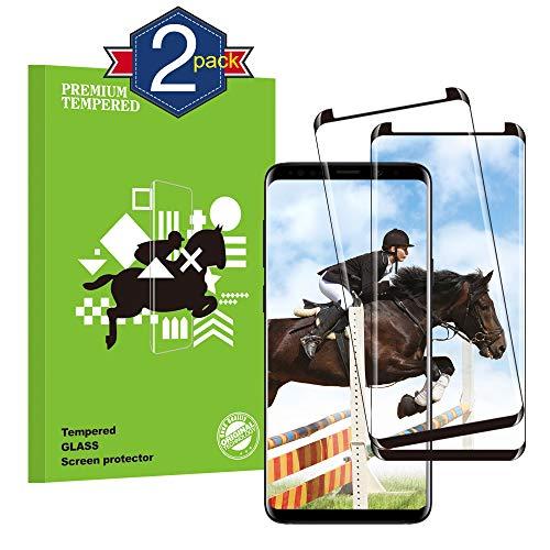 rongqdz Galaxy S9 Panzerglas Schutzfolie, [2 Stück] Gute Qualität 3D Gehärtetes Glas [9H Härte] [Ultra Klar] [Einfaches Anbringen] [Anti-Fingerabdruck] Displayschutzfolie für Galaxy S9