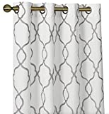 GoodGram 2 Pack Embroidered Semi Sheer Geometric Quatrefoil Grommet Top Window Curtains with Satin Backing for Privacy - Assorted Colors & Sizes (Gray, 84 in. Long)