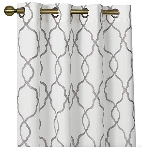 GoodGram 2 Pack Embroidered Semi Sheer Geometric Quatrefoil Grommet Top Window Curtains with Satin Backing for Privacy - Assorted Colors & Sizes (Gray, 84 in. Long) (With Grey White Curtains)