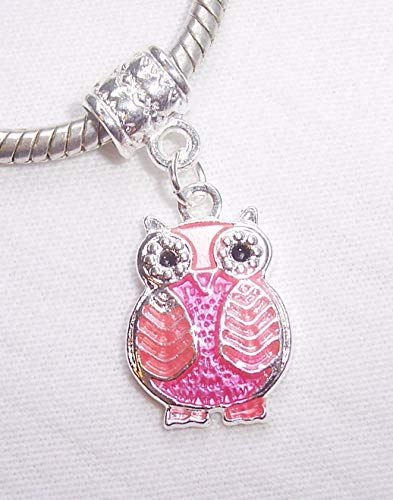 Wisdom Aromatherapy (Owl Pink Enamel Retro Bird Wisdom Dangle Charm for European Bead Slide Bracelets Crafting Key Chain Bracelet Necklace Jewelry Accessories Pendants)