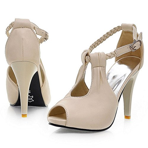 COOLCEPT Mujer Moda Al Tobillo Sandalias Peep Toe Tacon de Aguja Zapatos Beige