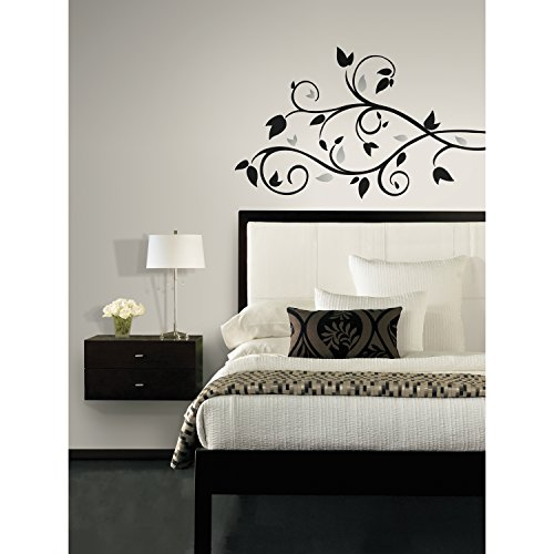 RoomMates RMK1799SCS Scroll Branch Foil Leaves Peel and Stick Wall Decals (Wide Twining Leaf)