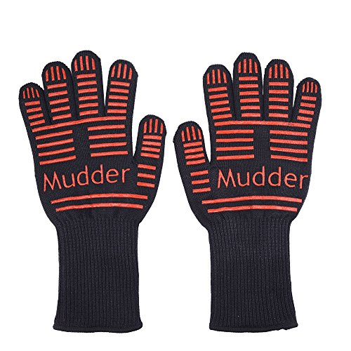 Review Mudder BBQ Grilling Cooking Gloves Heat Resistant Gloves 14 Inches for Cooking, Grilling and ...