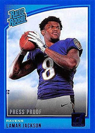 2018 Donruss Press Proof Blue Football #317 Lamar Jackson Baltimore Ravens Rated Rookie