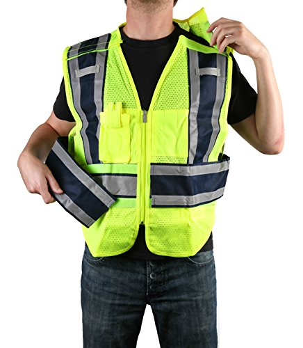 Breakaway Zipper (Safety Depot Class 2 Ansi/ISEA Mesh Reflective 5 Point Breakaway Public Safety Vest With Zipper, Pockets, Mic and Radio Tabs ANSI/ISEA Color Coded PWB503 (Law Enforcement Blue Filled, Regular))