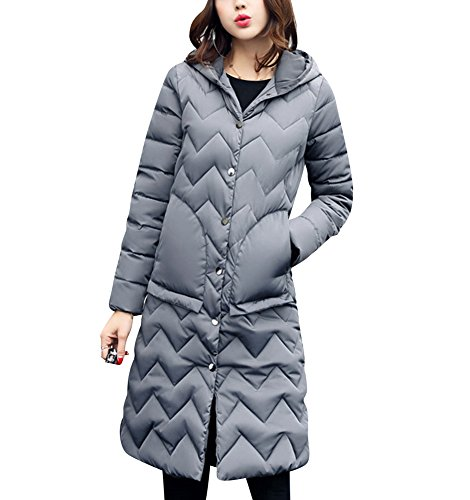 With Parka Thick Button Winter Quilted Closure Outwear Overcoat Ladies Coat Long Coat Extra Puffer Gray Jacket q7OW8SXw