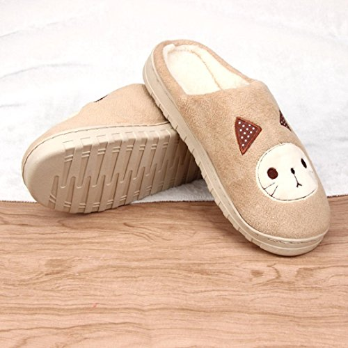 Home Slippers Euone Women Soft Warm Indoor Candy Colors Cat Cotton Slippers Home Anti-slip Shoes Khaki lLjEVltJEc