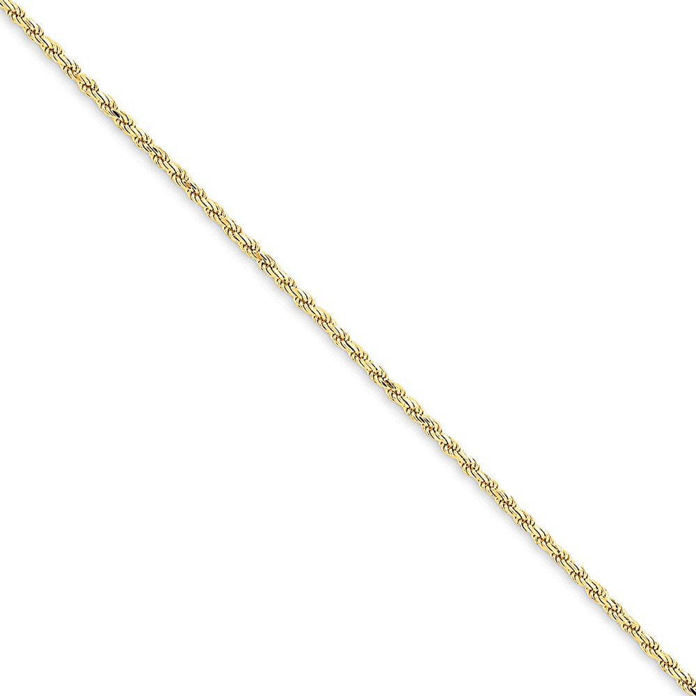 14K Yellow Gold 1.6mm Solid Diamond-Cut High Polished with Lobster Rope Necklace Chain -9'' (9in x 1.6mm)