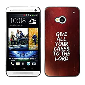 Planetar® ( Bible Verse-GIVE ALL YOUR CARES TO THE LORD ) HTC ONE / M7 Fundas Cover Cubre Hard Case Cover