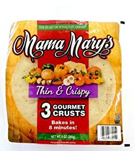 Mama Mary's, Prepared Pizza Crusts, Thin & Crispy 7 Crusts (3 Crusts), 9oz Bag (Pack of 3) (Choose Types Below) (Thin & Crispy 7 Crusts (3 Pack)) by Mama Mary's