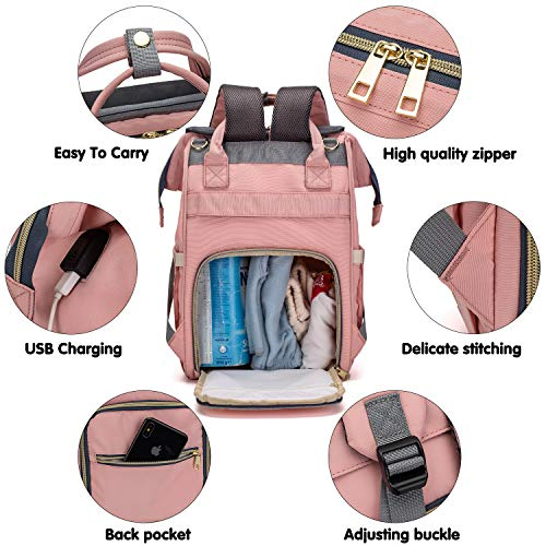Chamqueen Diaper Bag Backpack, Multi-Function Diaper Backpack with USB Charging Port Changing Pad Stroller Straps Grey