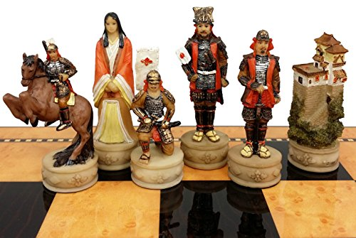 Japanese Samurai Warrior Set of Chess Men Pieces Hand Painted