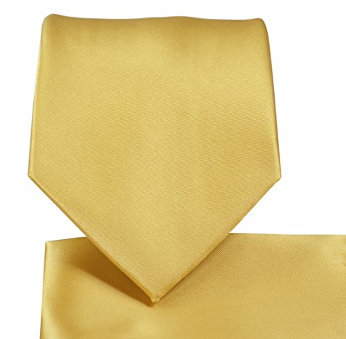 Gold Tie Mens - Oliver George Solid Necktie Set (Gold) #1010-C