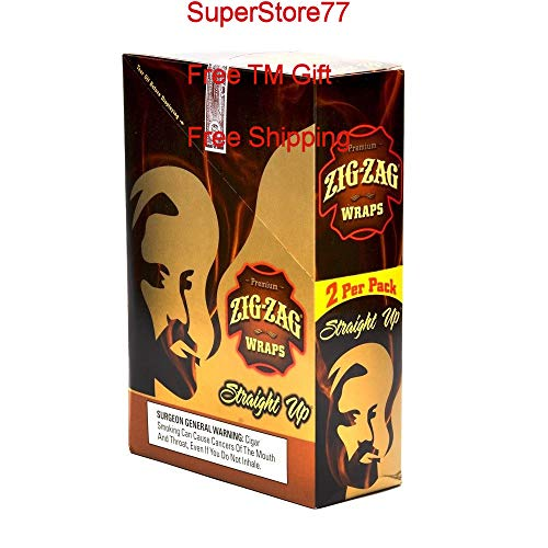 (SuperStore77 Zig Zag Paper 1 Box Straight Up 25 Pouches of 2 Paper Total of 50 Wraps Free SuperStore77 Gift Grinder)