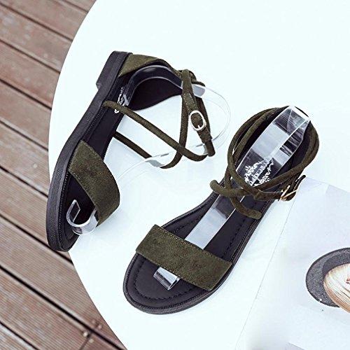 Noir à Décontracté Chaussures la Mode keephen Vert Ouverts Bas D'Été Plat Sandales à Talons Talons Chaussures Bas Zq0nB