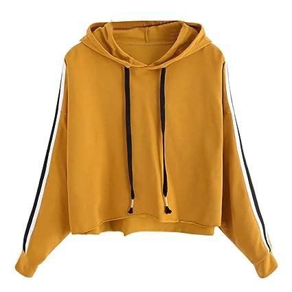 YJYDADA Blouse,Womens Striped Long Sleeve Hoodie Sweatshirt Jumper Hooded Pullover Tops Blouse (Yellow