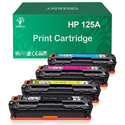 GREENSKY Compatible Toner Cartridge Replacement for HP 125A CB540A CB541A CB542A CB543A Color Laserjet CM1312 MFP CM1312nfi CP1215 CP1515n CP1518ni (Black, Cyan, Yellow, Magenta, 4-Pack) ()
