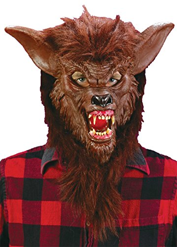 Werewolf Scary Beast Monster Horror Deluxe Latex Adult Halloween Costume Mask (Adult Wolf Mask Deluxe Latex)