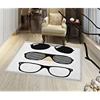 Indie Non Slip Rugs Set of Stylized Old Fashioned Sunglasses Summer Accessories Hipster Vintage Indoor/Outdoor Area Rug 32x48 Black and White