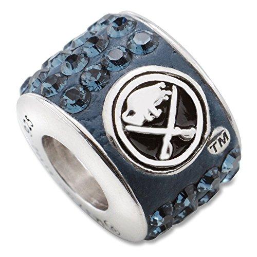 Sterling Silver Buffalo Sabres NHL New York Jewelry Pendants & Charms BUFFALO SABRES PREMIER CRYSTAL BEAD CHARM