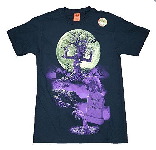 Halloween Haunted Cemetery Graveyard Black Graphic T-Shirt - Small (Graveyard Halloween)