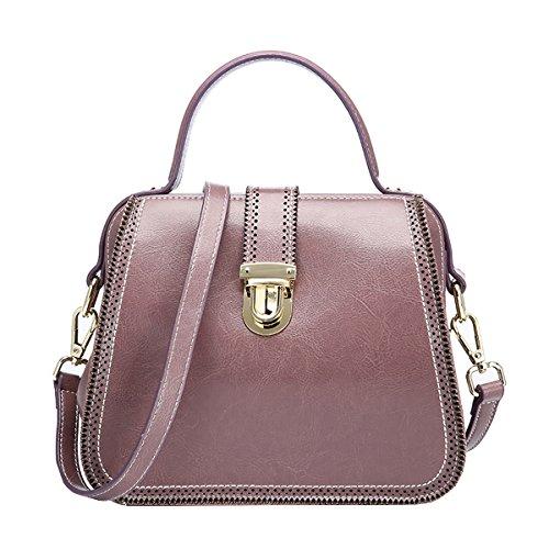 DISSA VQ0888 Damen Leder Handtaschen Satchel Tote Taschen Schultertaschen Violett