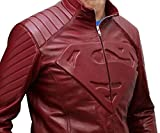 Superman Leather Jacket - Red Celebrity Costume Leather Jacket for Mens (XL, SUPERMAN RED)
