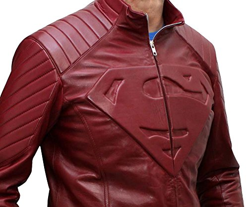 Superman Leather Jacket - Red Halloween Costume Leather Jacket for Mens (L, SUPERMAN (Red Leather Jacket Halloween Costume)