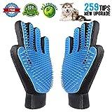 [Updated Version] Pet Grooming Glove Gentle Deshedding Brush Tool Efficient Pet Hair Removal