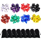 8 x 7 (56 Pieces) Polyhedral Dice 8 Color Dungeons and Dragons DND MTG RPG D20 D12 D10 D8 D6 D4 Game Dice Set Math Dice Games