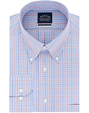 Men's Non Iron Stretch Collar Regular Fit Multi Plaid Dress Shirt