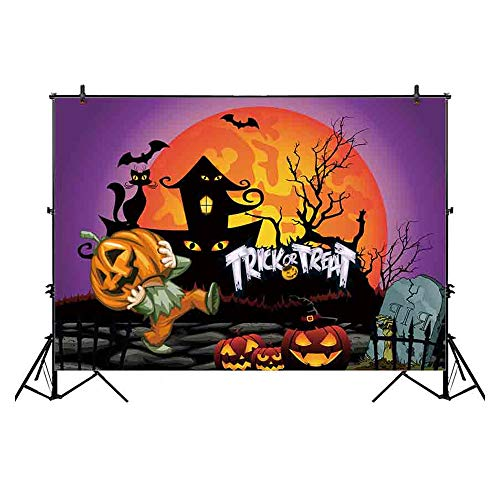Funnytree 7x5ft Thin Vinyl Halloween Carnival Backdrop Trick or Treat Theme Pumpkin Boy Haunted Cabin Silhouette Flamming Moon Purple Sky Cartoon Background for Party Decoration Photocall Photo -