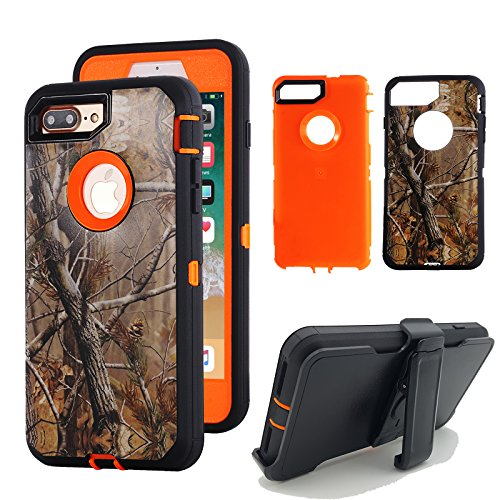 iPhone 8 Plus Holster Case, Kecko Tough Armor Natural Camouflage Tree Shockproof Impact Resistant Hybrid Military Heavy Duty Cover Case for iphone 7 / 8 Plus Screen Protector Belt Clip
