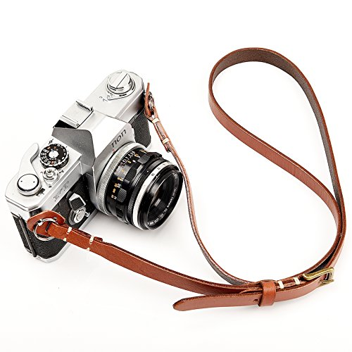 CANPIS Genuine Handmade Leather Camera Shoulder Neck Adjustable Strap for Nikon Canon Sony Pentax Leica Olympus Fuji New Design Leather Camera Neck Strap