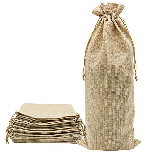 Shintop 10pcs Jute Wine Bags 1.5L, 16 x 6.7 inches Hessian Wine Bottle Gift Bags with Drawstring (Brown) (Fabric Gift Wine Bags)