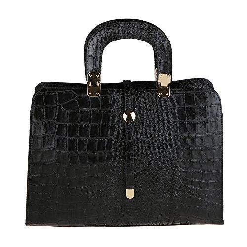 Modèle Noir véritable Italie Fabriqué en Borse main épaule Python Cm 37x26x14 cuir femme avec en Chicca Sac à TqCOAAw