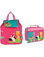 Stephen Joseph Girls Quilted Safari Animals Backpack and Lunch Box for Kids