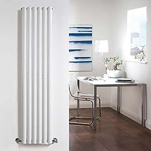 Milano Radiador de Diseño Vertical - Blanco - 1600mm x 354mm x 58mm - 841 Vatios - Revive