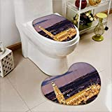 vanfan Cushion Non-slip Toilet Mat Dusk as the Flood Lights are Illuminated Cathedral in Ancient City Of Toledo Spain Prin with High Absorbency