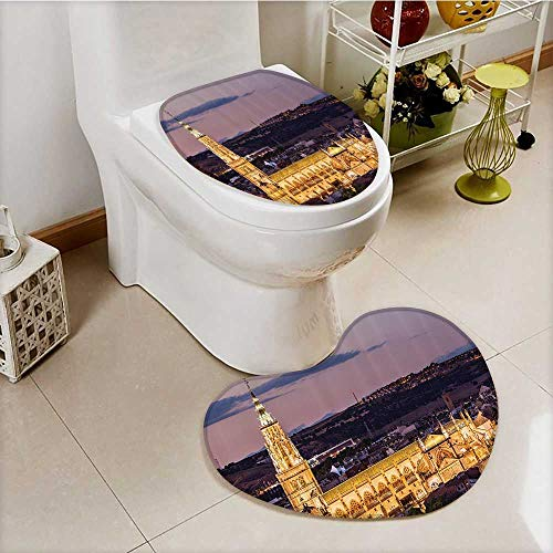 vanfan Cushion Non-slip Toilet Mat Dusk as the Flood Lights are Illuminated Cathedral in Ancient City Of Toledo Spain Prin with High Absorbency by vanfan
