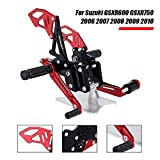 NEVERLAND Motorcycle CNC Adjustable Rearsets Footpegs Rear Sets for Suzuki GSXR600 GSXR750 2006 2007 2008 2009 2010 Black & Red