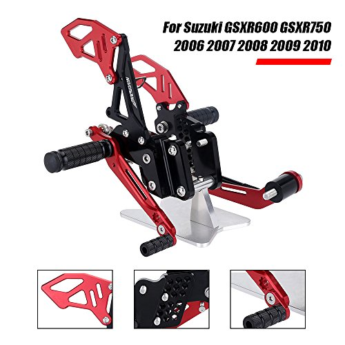 NEVERLAND Motorcycle CNC Adjustable Rearsets Footpegs Rear Sets for Suzuki GSXR600 GSXR750 2006 2007 2008 2009 2010 Black & Red by NEVERLAND
